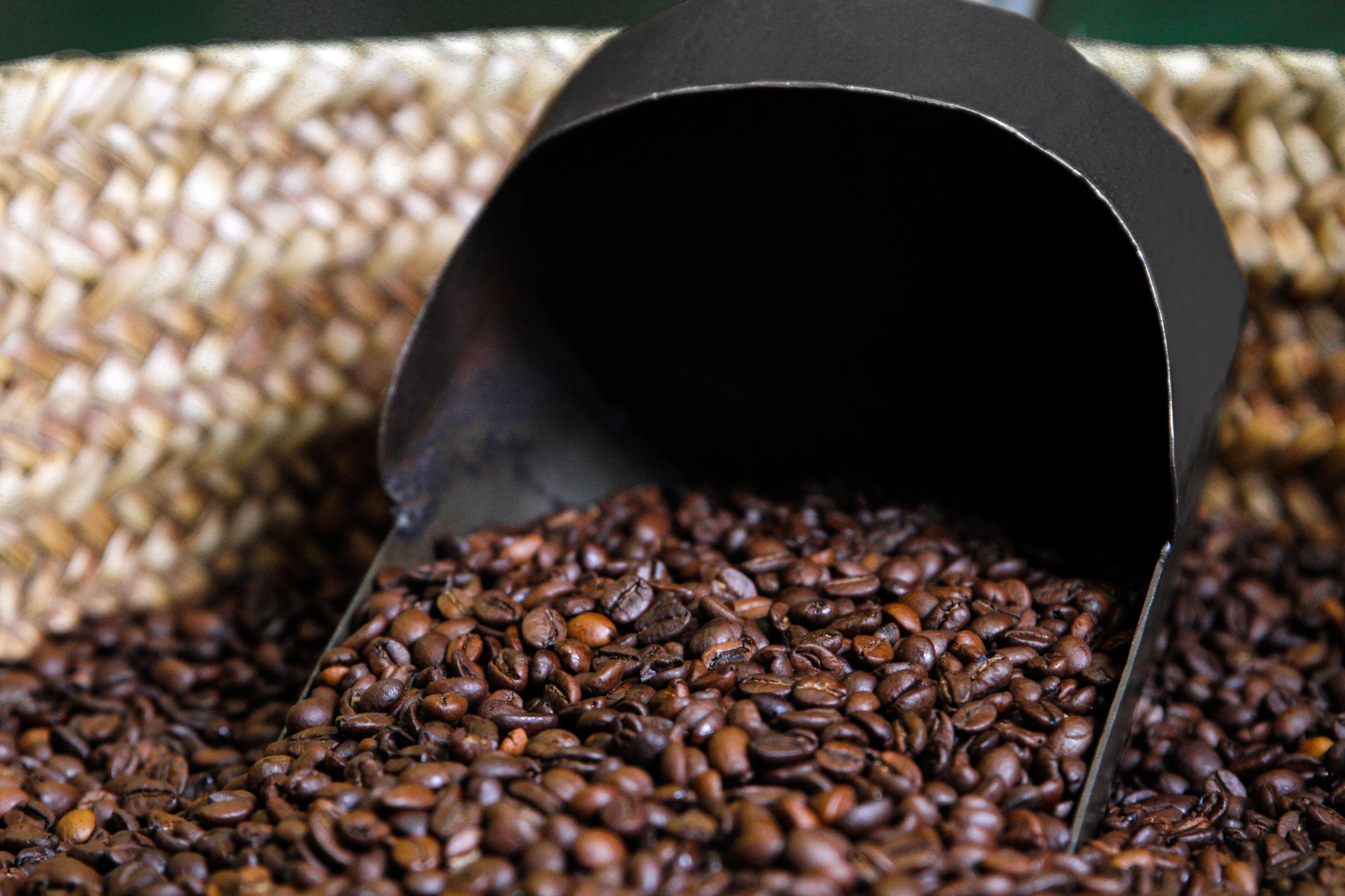 Café tostado en el capazo